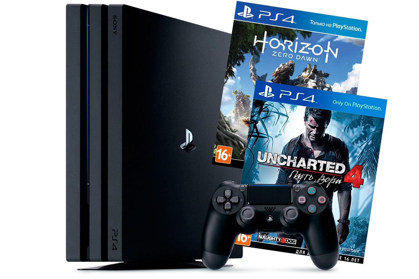 PlayStation 4 Pro с играми Horizon Zero Dawn и Uncharted 4 [PS4P1HUZ]