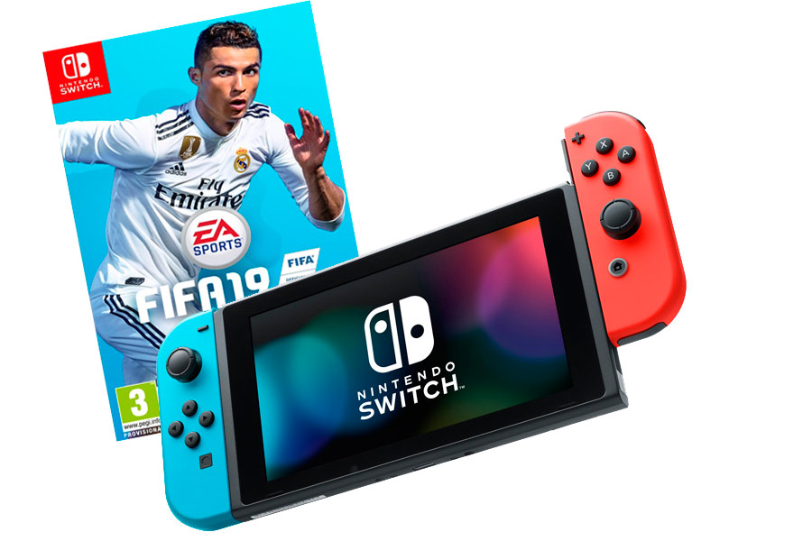 Nintendo Switch Bundle неоновая и FIFA 19 [NSCFI19]