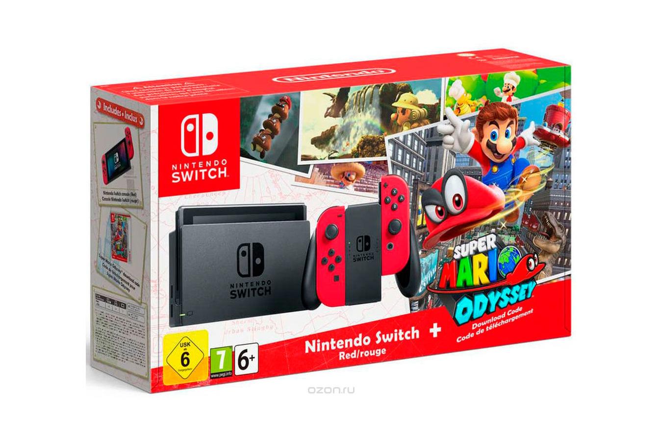 Nintendo Switch красная и Super Mario Odyssey [NSCMRE]