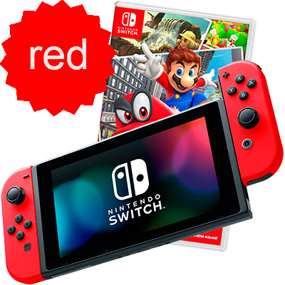 Switch красная и Mario Odyssey