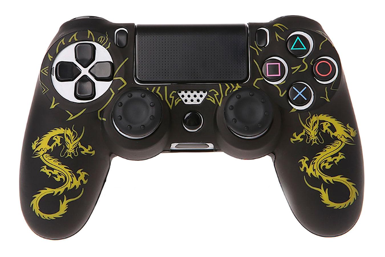 Желтый Дракон, силиконовый чехол для DualShock 4