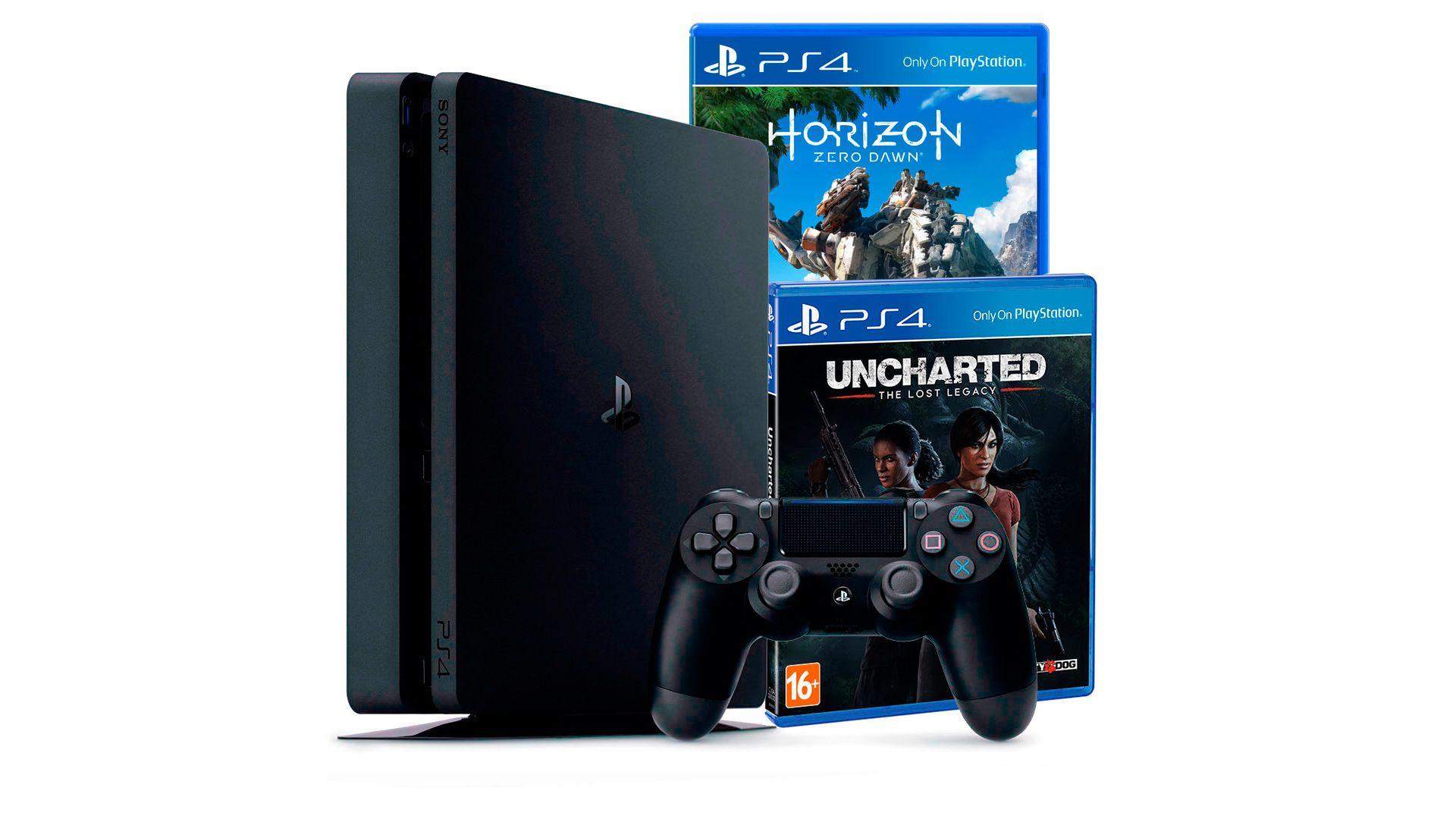PlayStation 4 Slim 500Gb с играми Horizon Zero Dawn и Uncharted: Утраченное наследие [PS4S5HUZ]