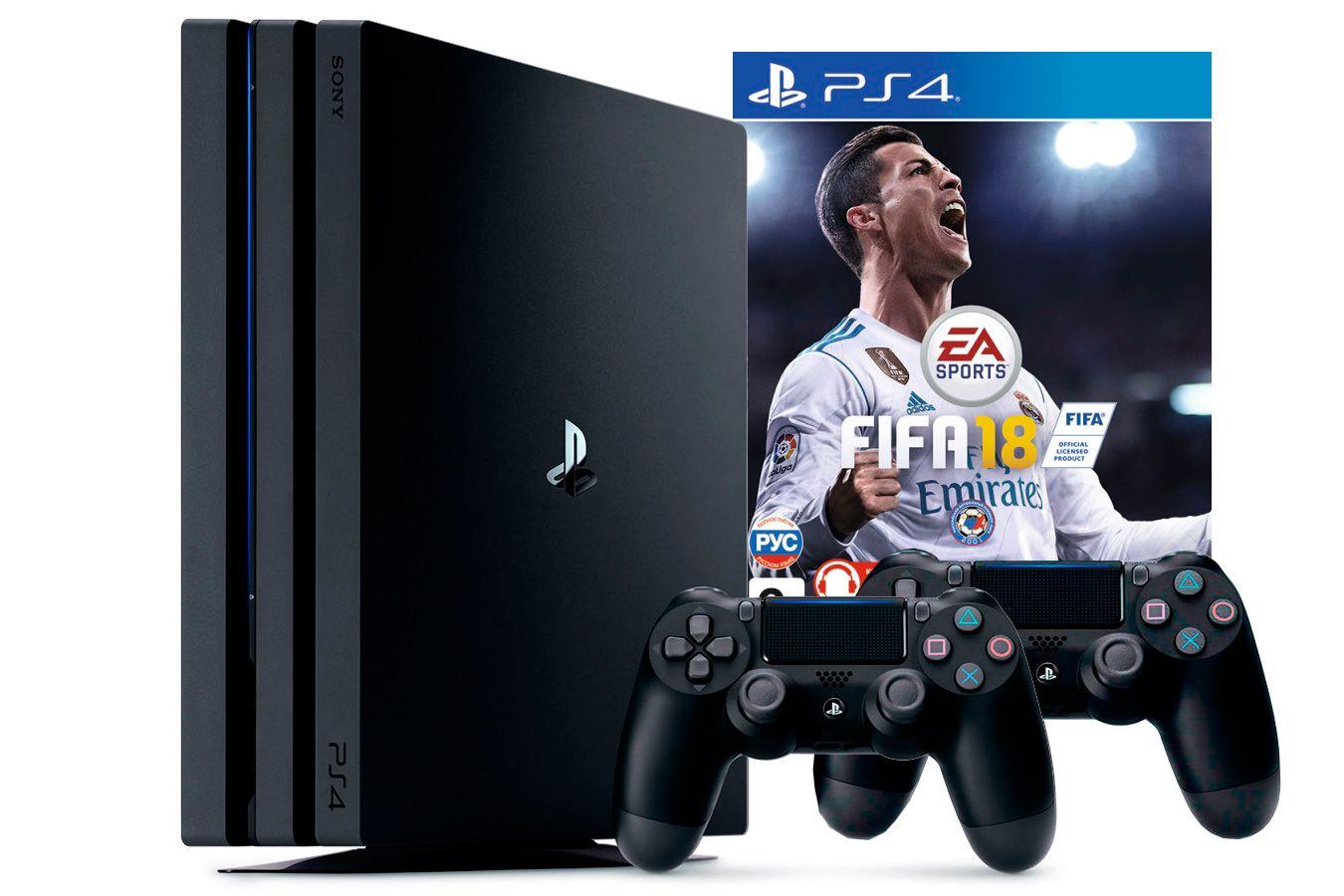 PlayStation 4 Pro 2 джойстика, приставка и игра FIFA 18 [PS4P1J2F18]