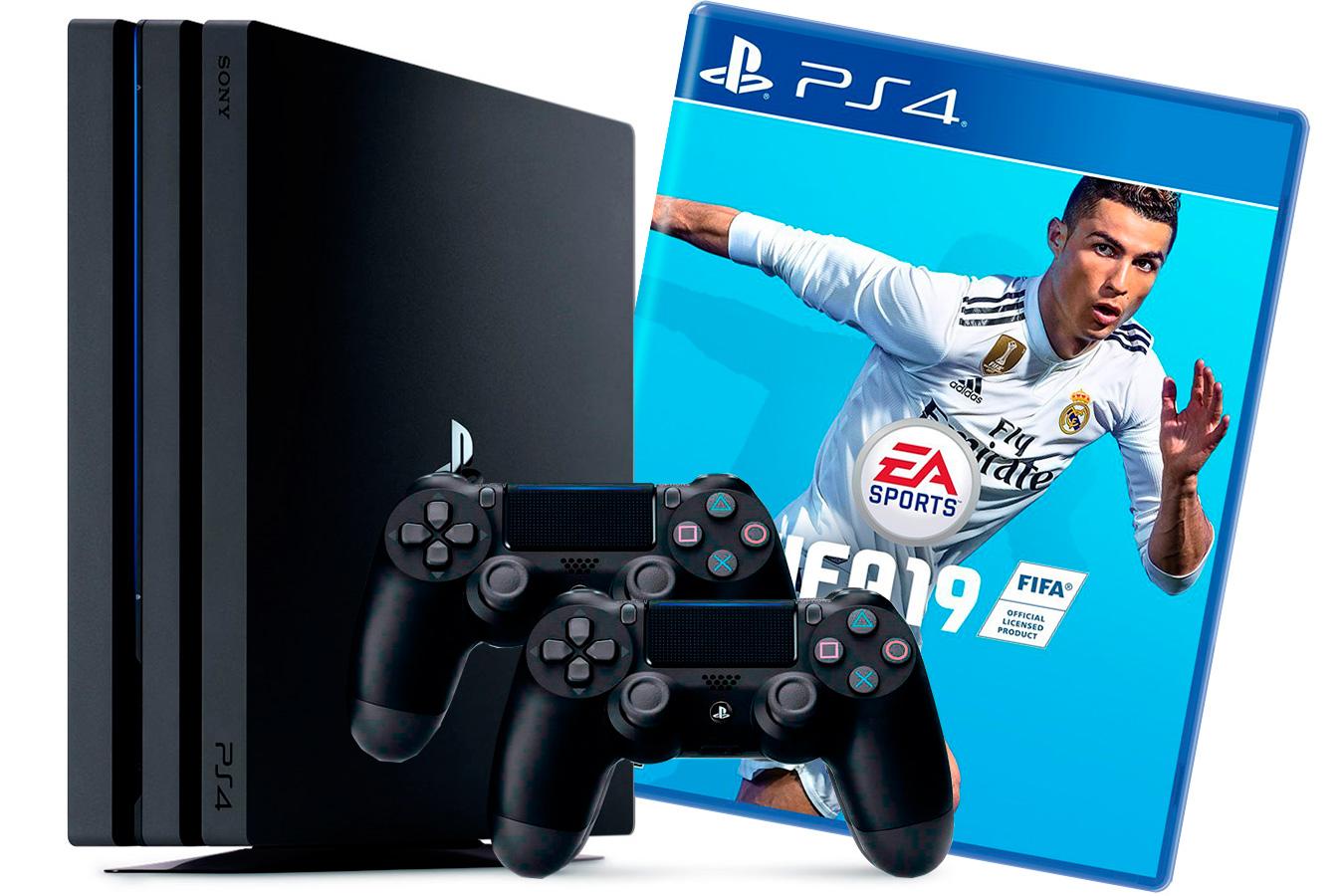 PlayStation 4 Pro 2 джойстика, приставка и игра FIFA 19 [PS4P1J2F19]