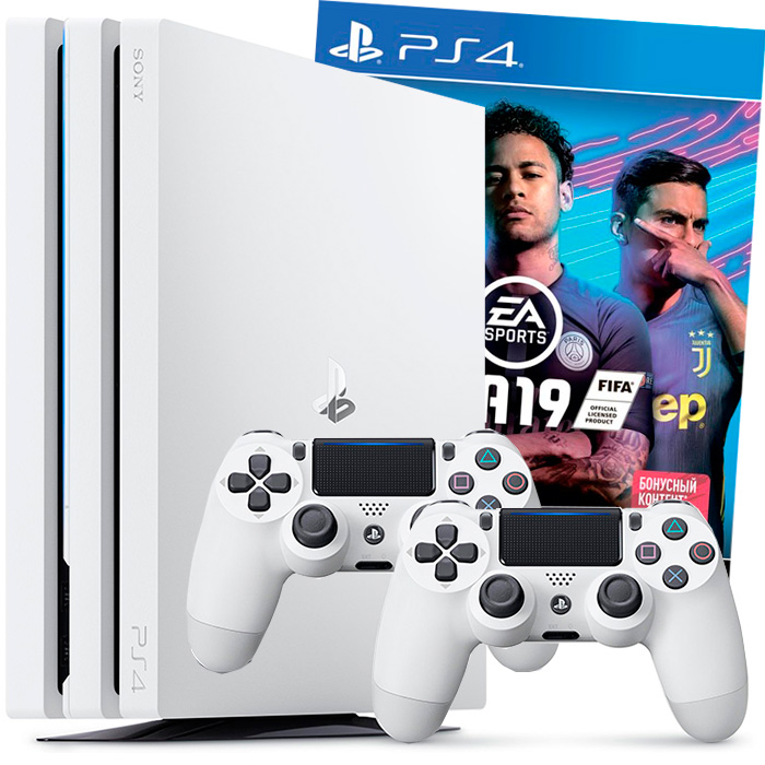 Белая PS4 Pro FIFA 19 2 джойстика