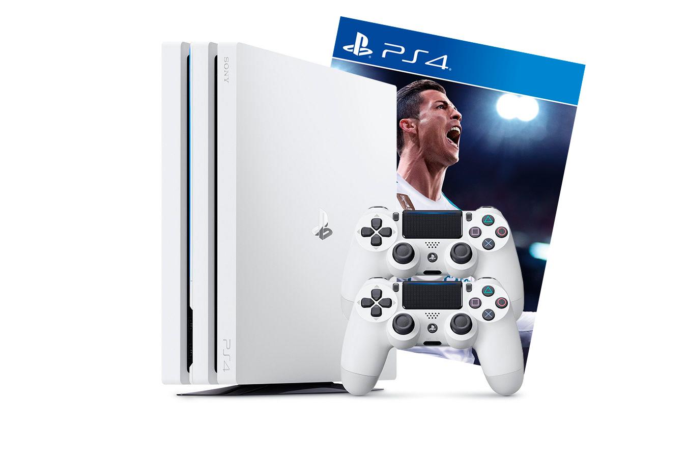 PlayStation 4 Pro 2 джойстика, белая приставка и игра FIFA 18 [PS4P1WJ2F18]