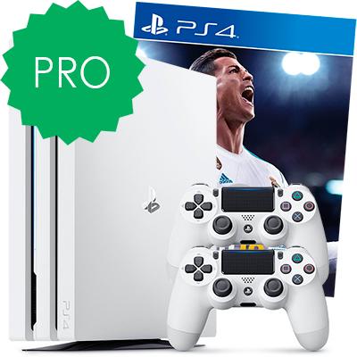 Белая PS4 Pro 2 джойстика и FIFA 18