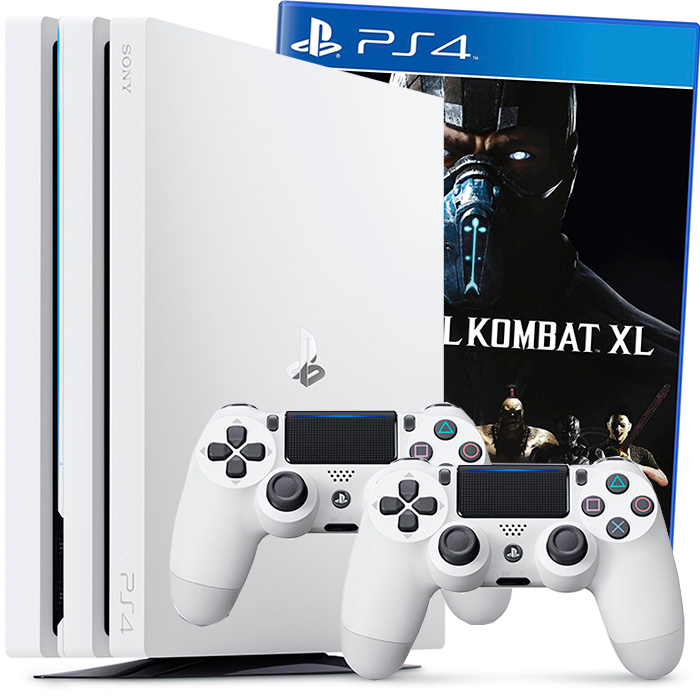 Белая PS4 ProMortal Kombat XL 2 джойстика