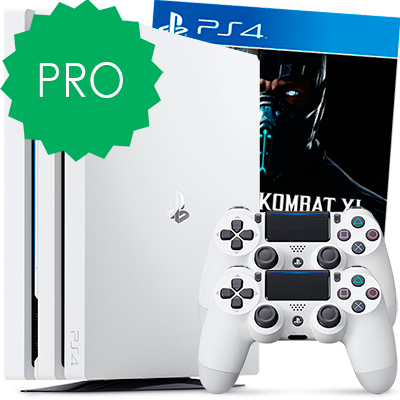 Белая PS4 Pro 2 джойстика и Mortal Kombat XL
