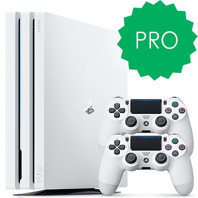 Белая PS4 Pro 2 джойстика