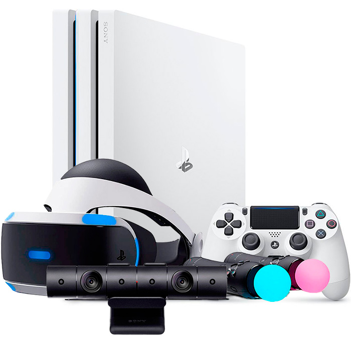 Белая PS4 Pro VR Launch Bundle