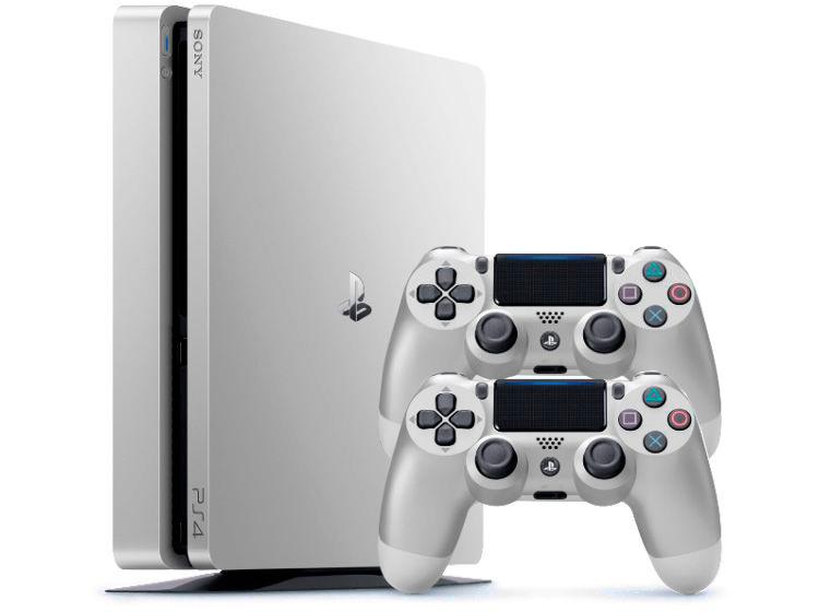 PlayStation 4 Slim 500Gb Серебряная и 2 джойстика [PS4S5S2J]