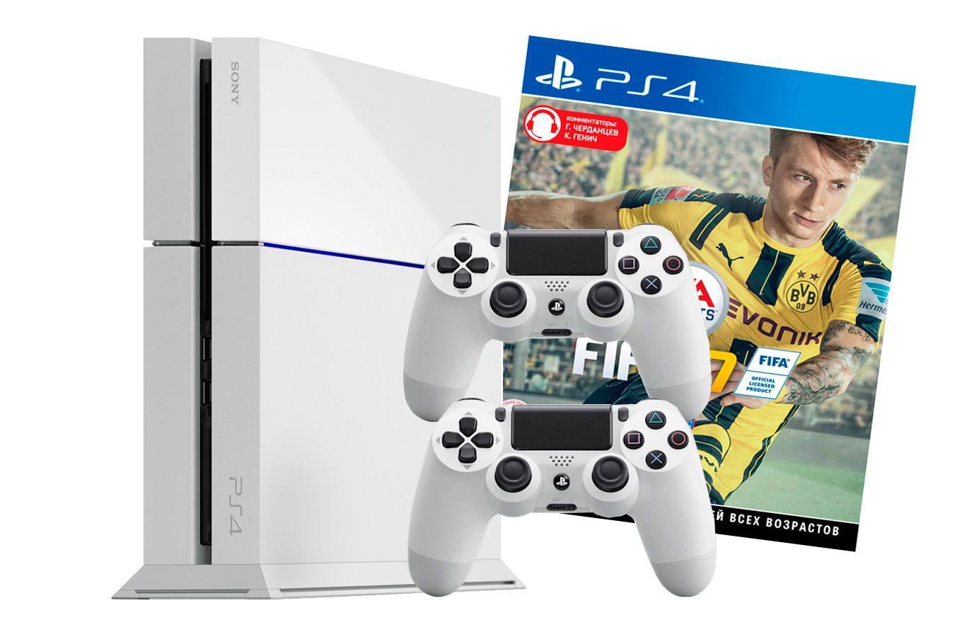 PlayStation 4 500Gb 2 джойстика игра FIFA 17 и белая игровая приставка [PSF4S5J2FW]