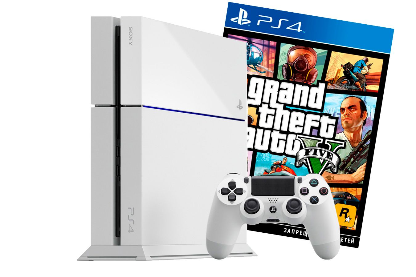 PlayStation 4 500Gb белая игровая приставка с игрой GTA V [PSF45GTA5W]