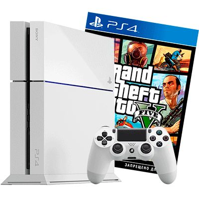 PlayStation 4 500Gb белая GTA V
