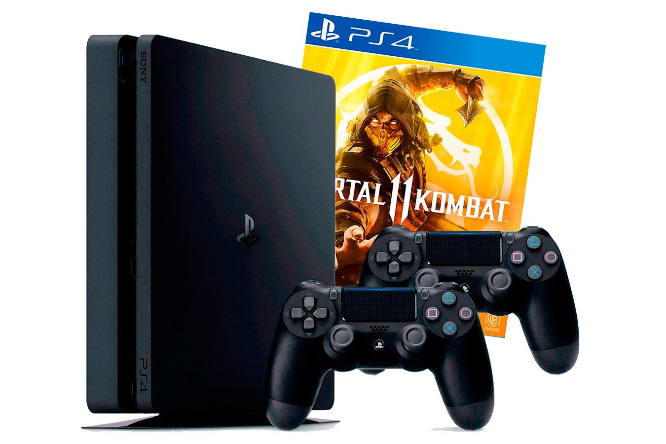 PlayStation 4 Slim 1Tb 2 джойстика и игра Mortal Kombat 11 [PS4S1J2M11]