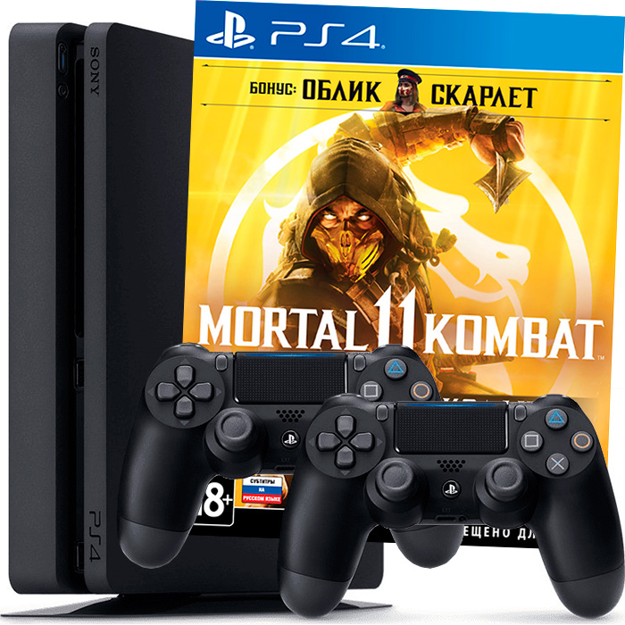 PS4 Slim 1Tb Mortal Kombat 11 и 2 джойстика
