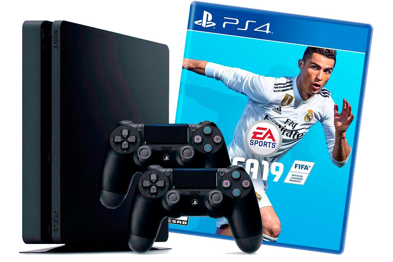 PlayStation 4 Slim 1Tb 2 джойстика, с игрой FIFA 19 [PS4S1J2F19]
