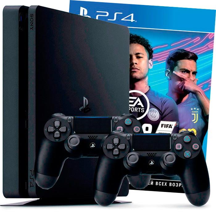 PS4 Slim 1Tb FIFA 19 2 джойстика