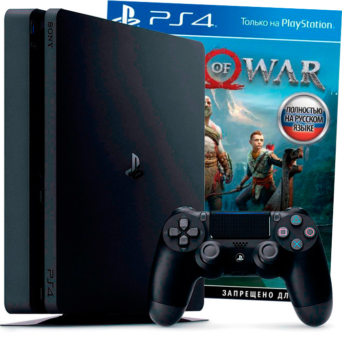 PS4 Slim 1Tb и God of War 2018