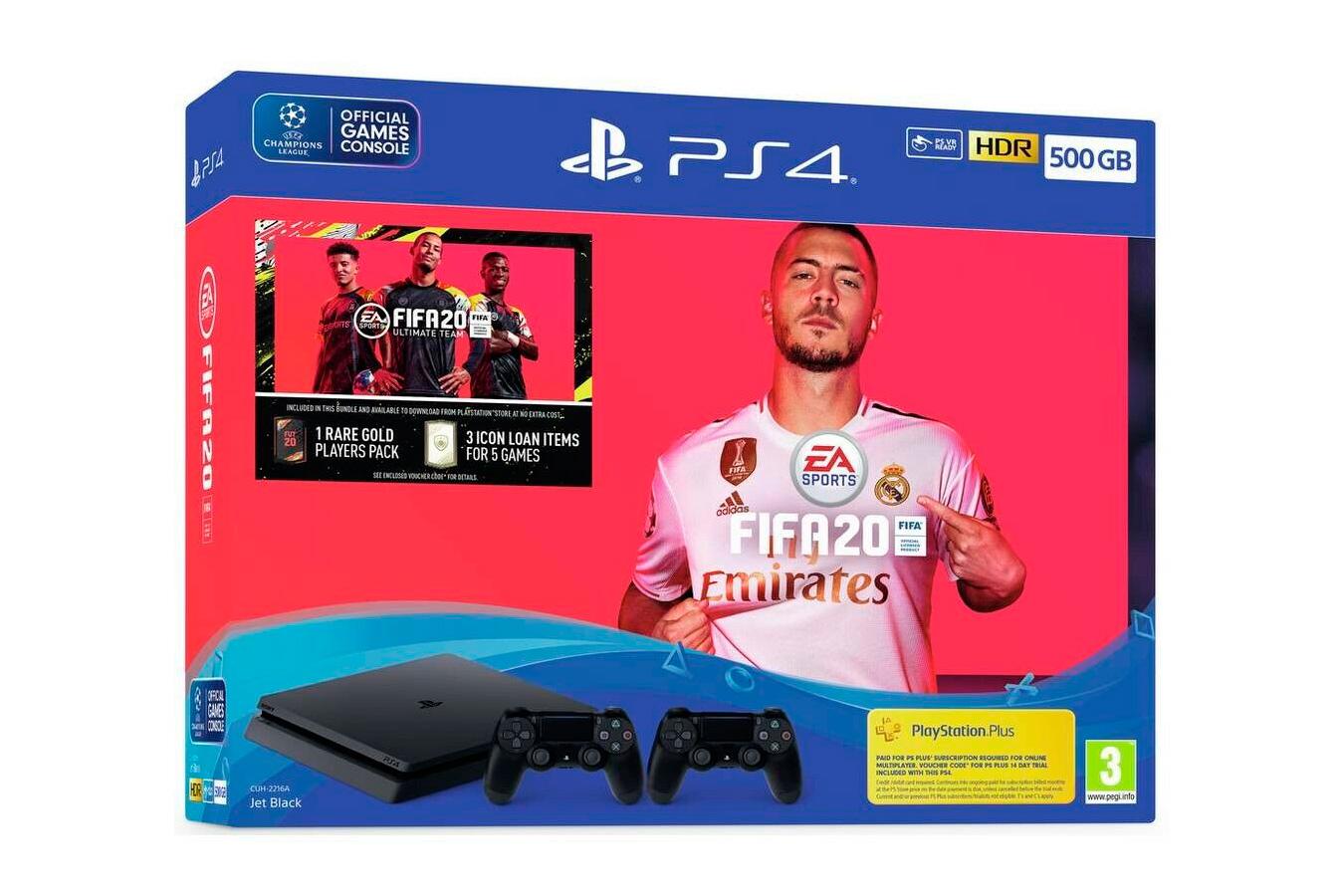 PlayStation 4 500Gb 2 джойстика, с игрой FIFA 20 [PS4S5J2F20]