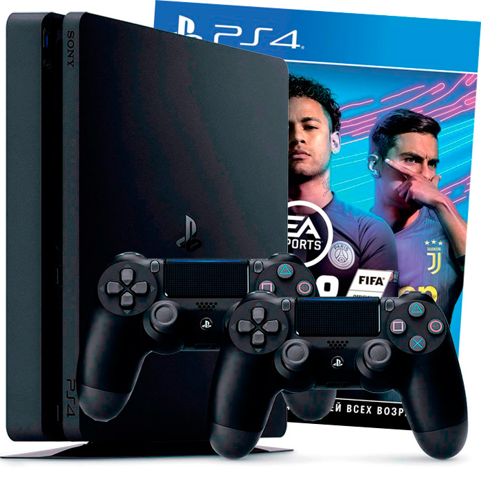 playstation 4 slim 500gb 2 джойстика, с игрой fifa 19 [ps4s5j2f19]