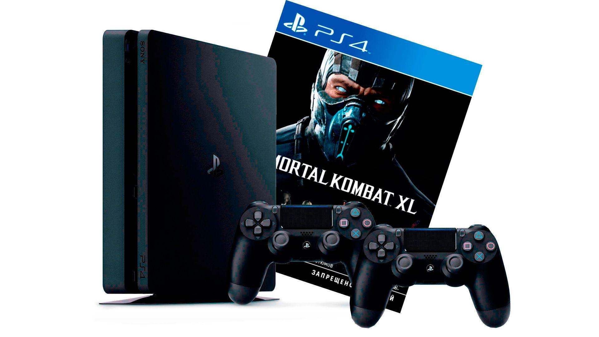 PlayStation 4 Slim 1Tb 2 джойстика, приставка и игра Mortal Kombat XL [PS4S1J2MXL]