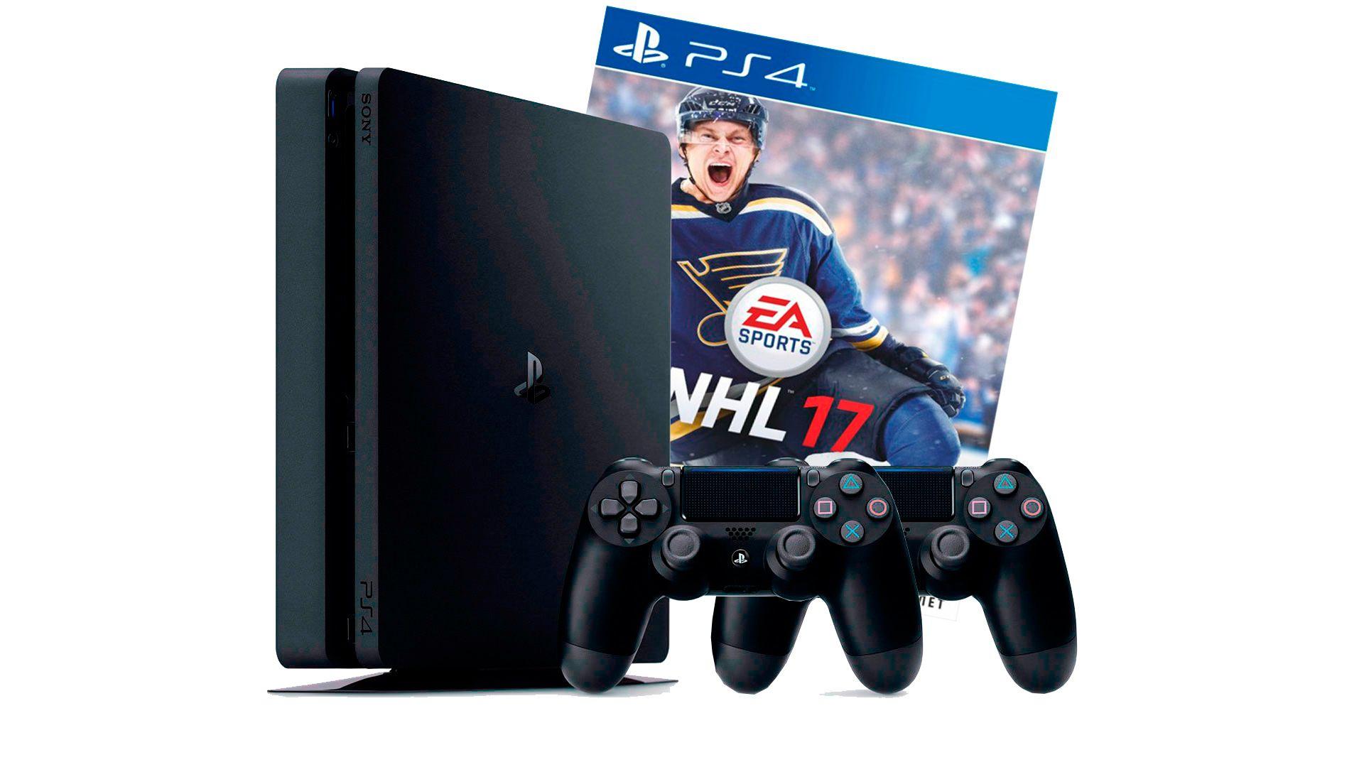 PlayStation 4 Slim 1Tb 2 джойстика, приставка и игра NHL 17 [PS4S1J2N17]