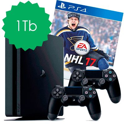 PlayStation 4 Slim 1Tb NHL 17 и 2 джойстика