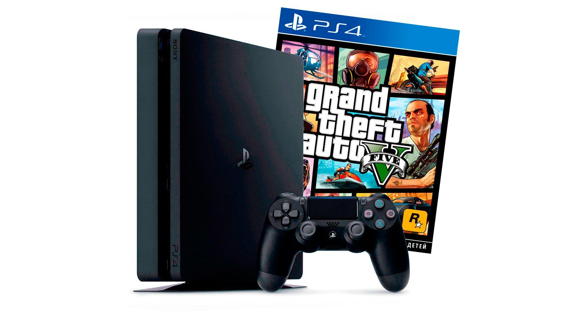 PlayStation 4 Slim 1Tb игровая приставка с игрой GTA 5 [PS4S1G5]