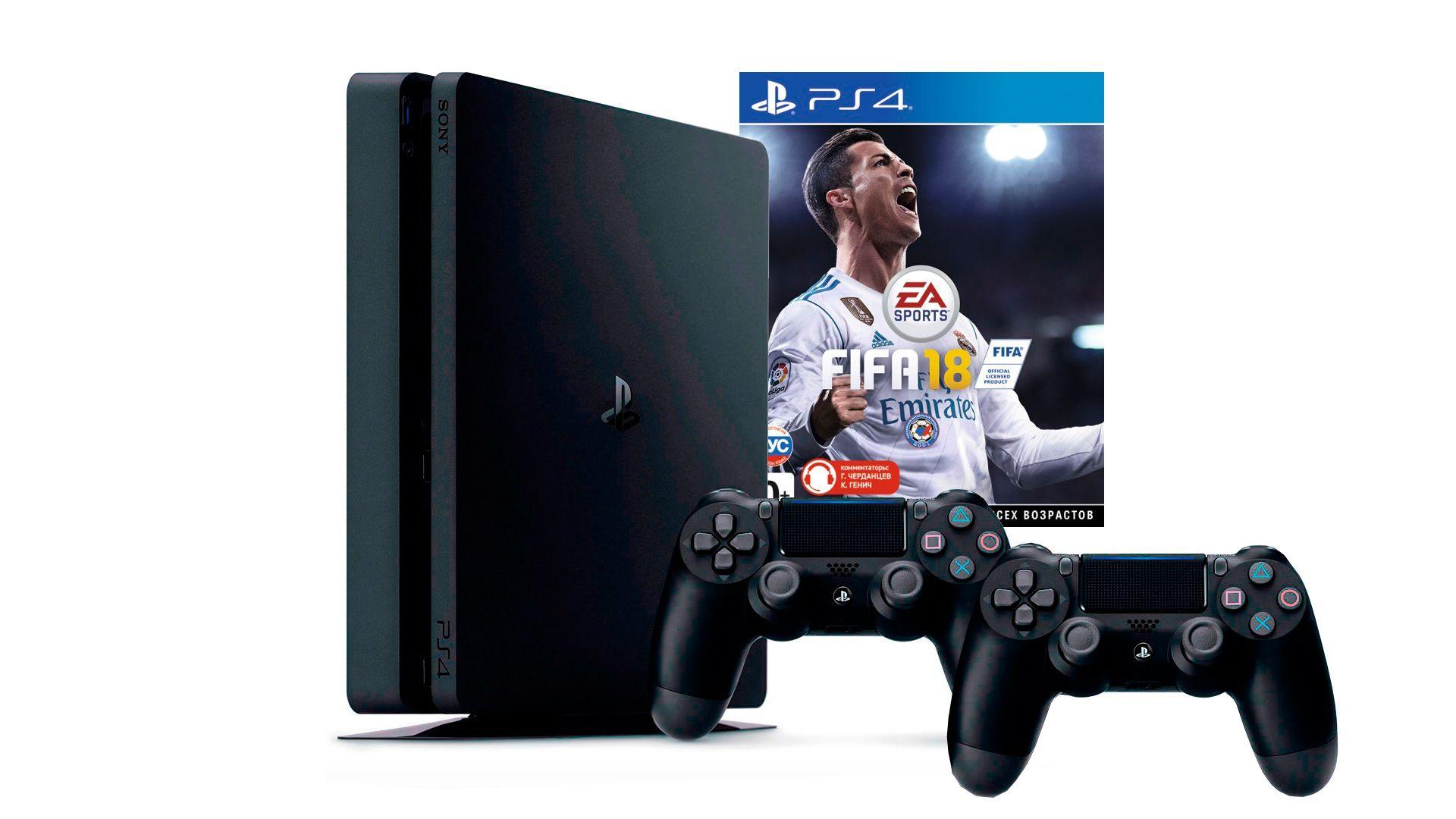 PlayStation 4 Slim 500Gb 2 джойстика, приставка и игра FIFA 18 [PS4S5J2F18]