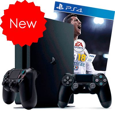PlayStation 4 Slim 500Gb FIFA 18 и 2 джойстика