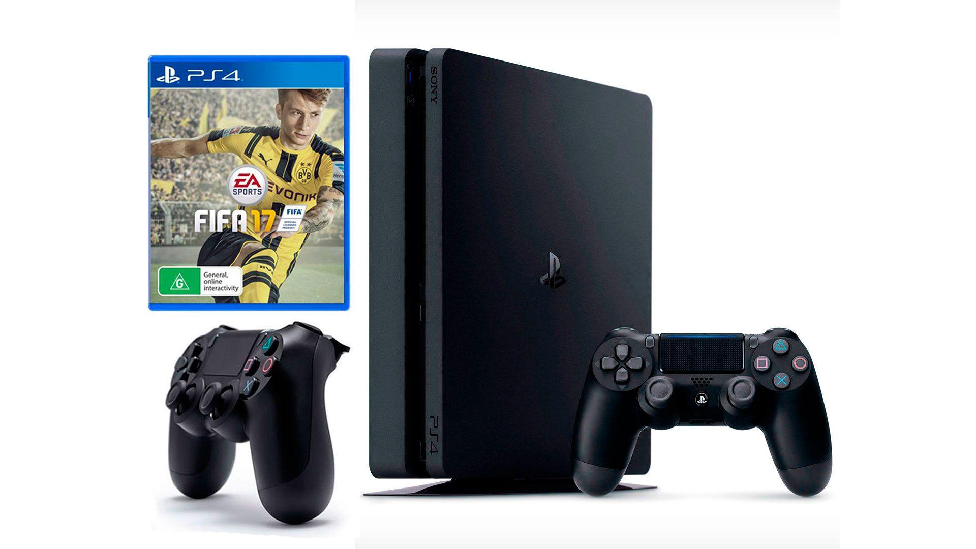 PlayStation 4 Slim 1Tb 2 джойстика, приставка и игра FIFA 17 [PS4S1J2F17]