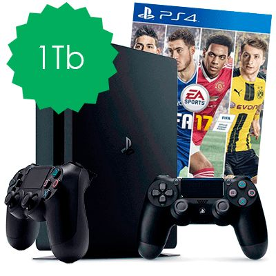 PlayStation 4 Slim 1Tb FIFA 17 и 2 джойстика