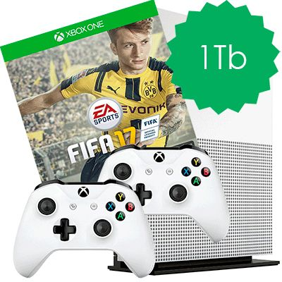Xbox One S 1Tb 2 джойстика и FIFA 17