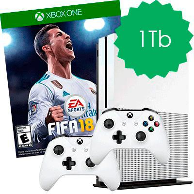 Xbox One S 1Tb 2 джойстика и FIFA 18