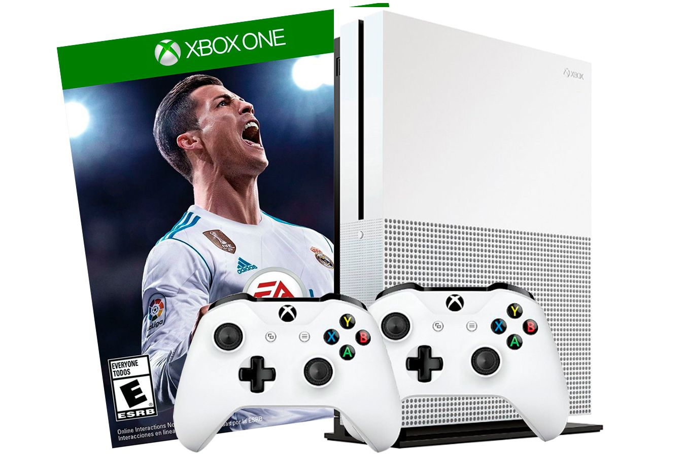 Xbox One S 500Gb 2 джойстика, FIFA 18 и игровая приставка  [SXO58F2]