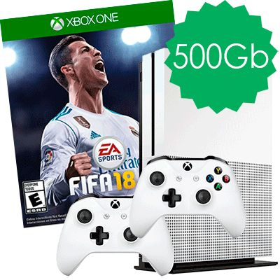 Xbox One S 500Gb 2 джойстика и FIFA 18