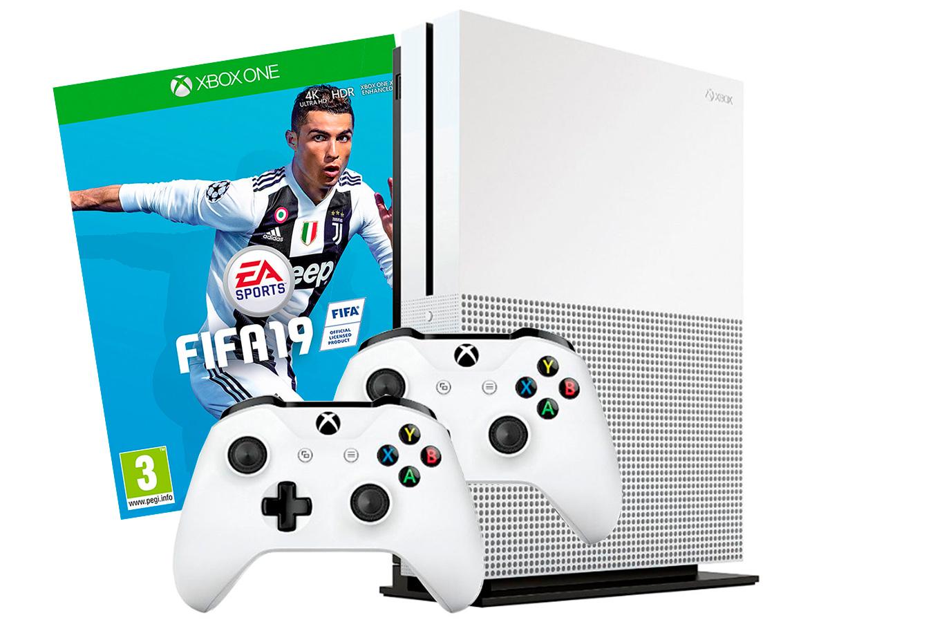 Xbox One S 500Gb игра FIFA 19 и 2 джойстика [SXO59F2]