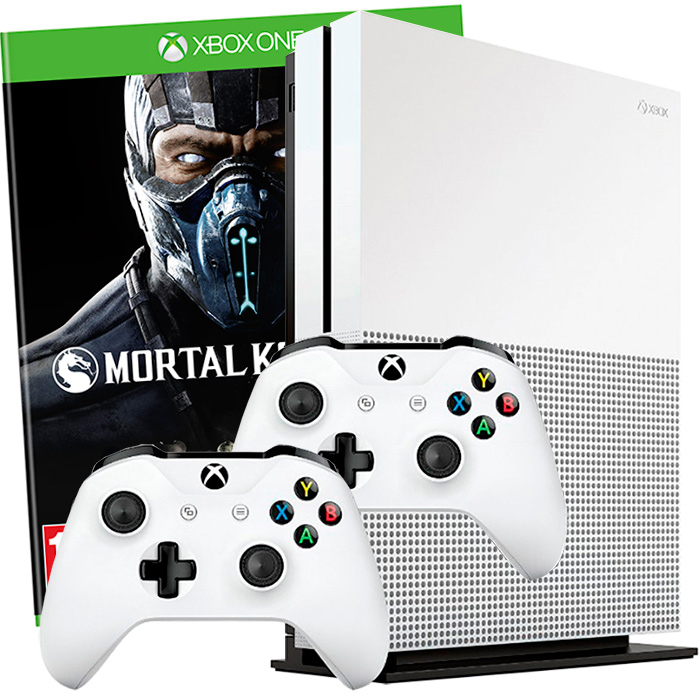 Xbox One S 500Gb 2 джойстика и Mortal Kombat XL