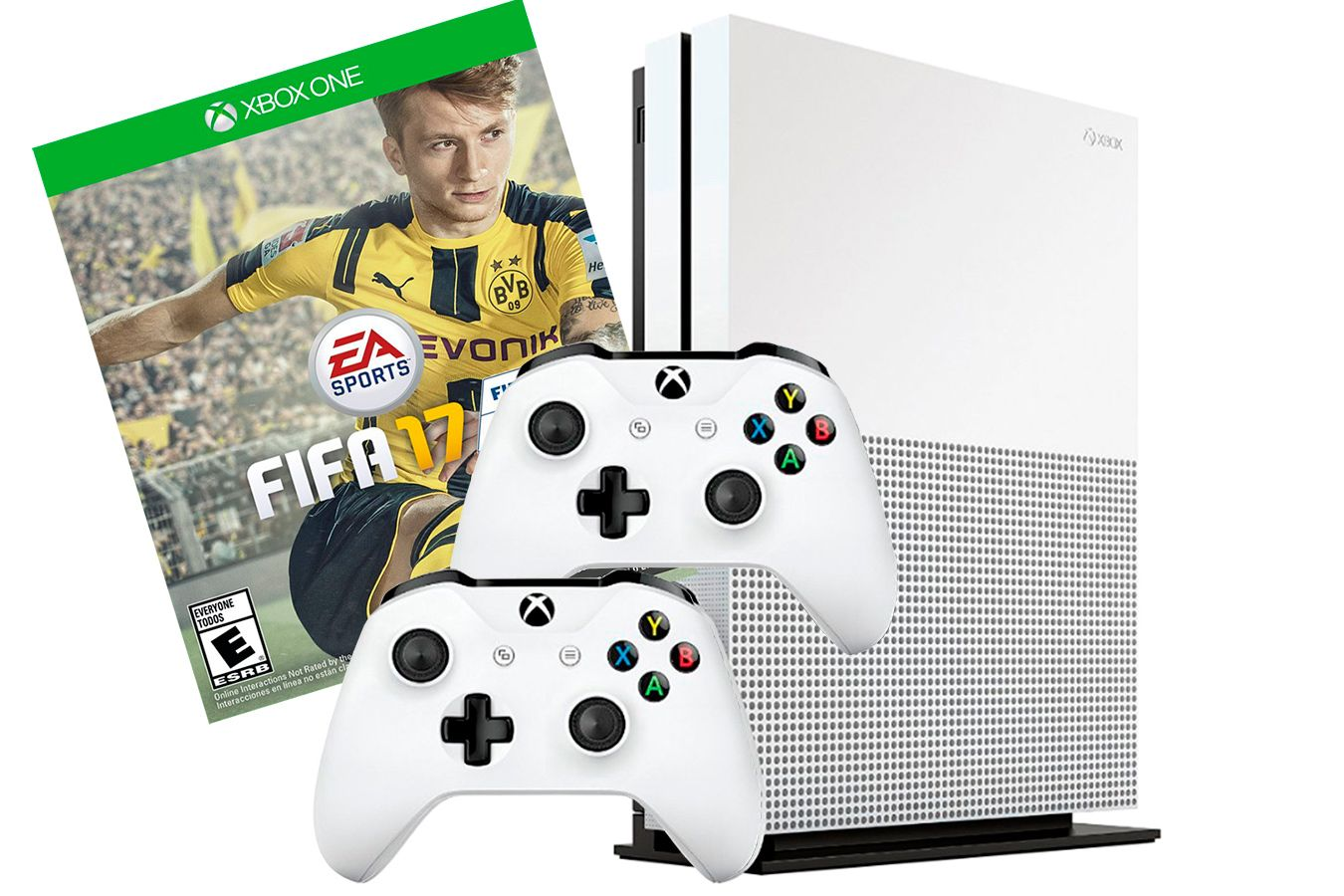 Xbox One S 500Gb 2 джойстика, FIFA 17 и игровая приставка  [SXO5F2]