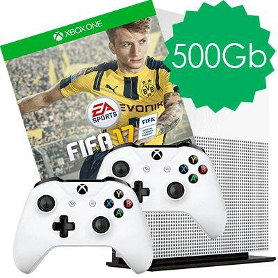 Xbox One S 500Gb 2 джойстика и FIFA 17