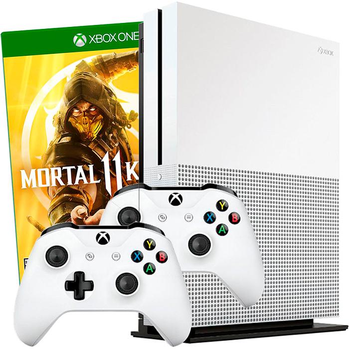 Xbox One S 1Tb 2 джойстика и Mortal Kombat 11