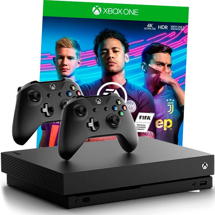 Xbox One X FIFA 19 и 2 джойстика