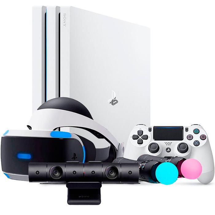 белая playstation 4 pro и шлем vr набором launch bundle [ps4p1wvrl]